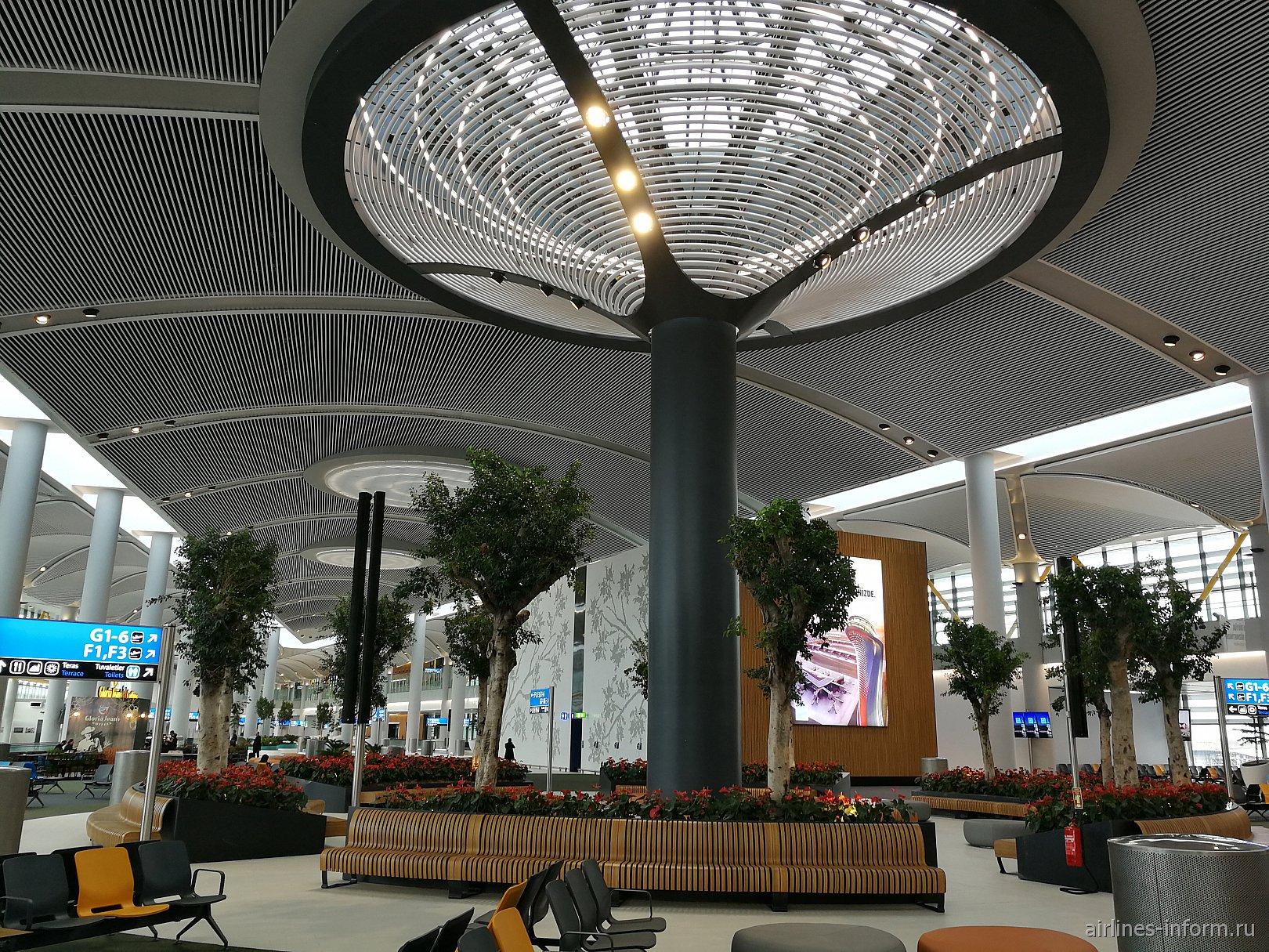 Зона отдыха в пассажирском терминале аэропорта Стамбул Новый