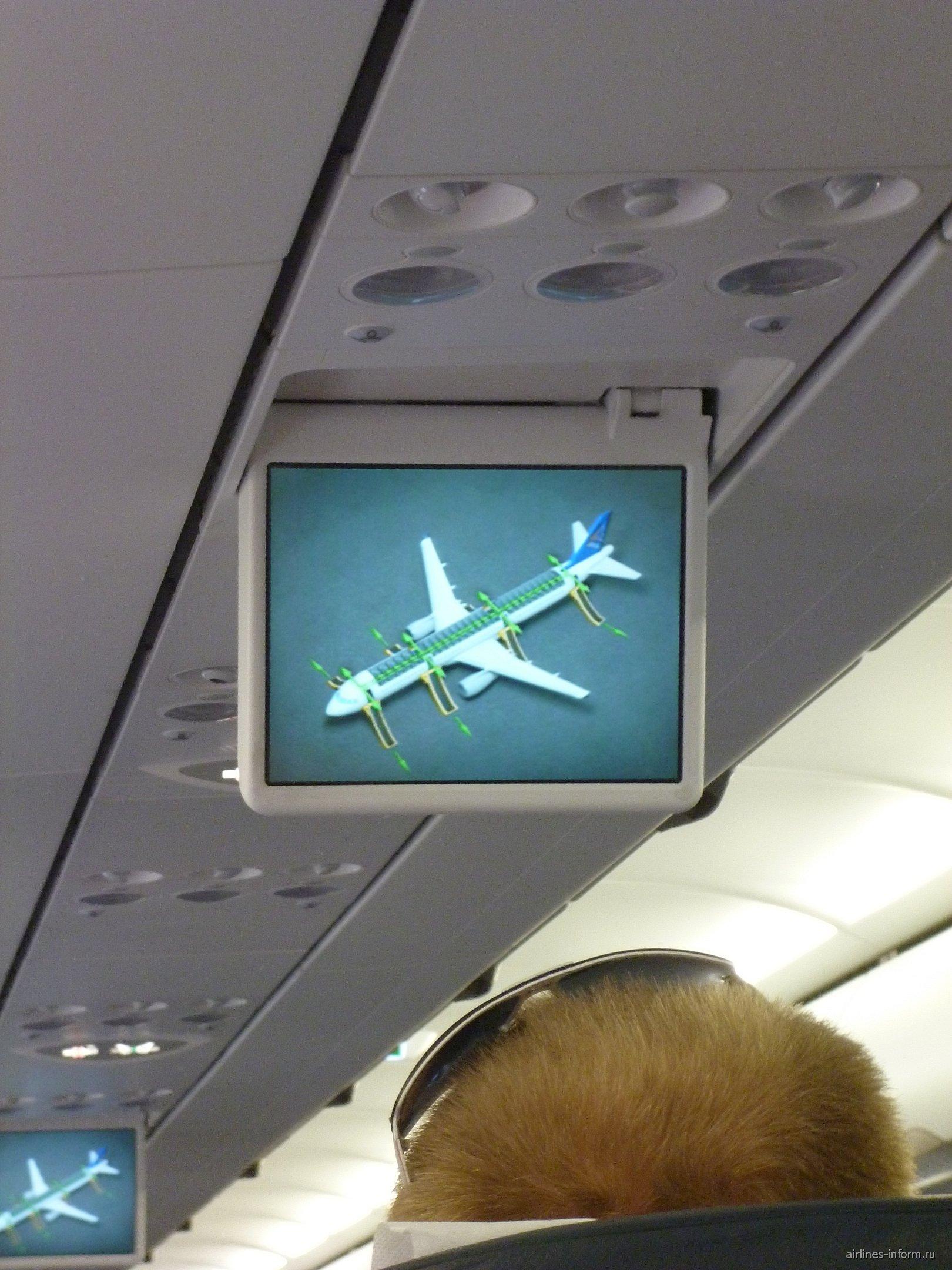 Система развлечений в Эрбас А-321 Аэрофлота