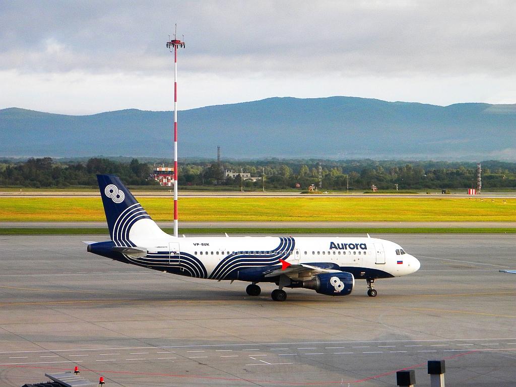 "Фото Airbus A319 авиакомпании ""Аврора"" в аэропорту Владивостока"