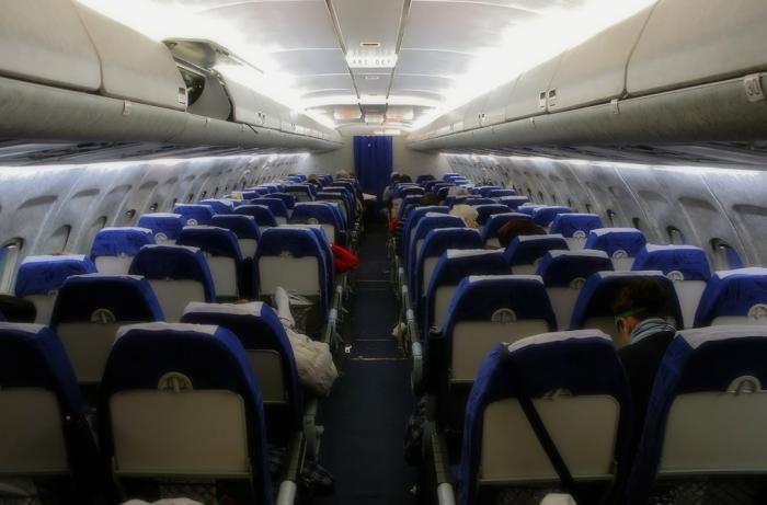 Салон самолета Ту-154 авиакомпании UTair
