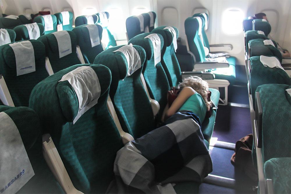 Economy class seats in Transaero Boeing 777-200