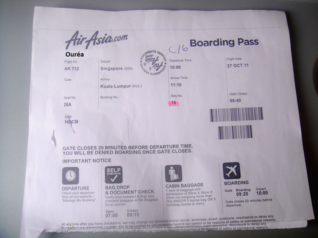 Boarding pass of AirAsia airline