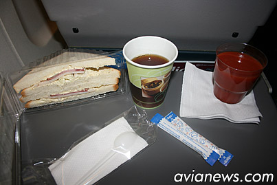 Meal on the flight Kiev-Lviv