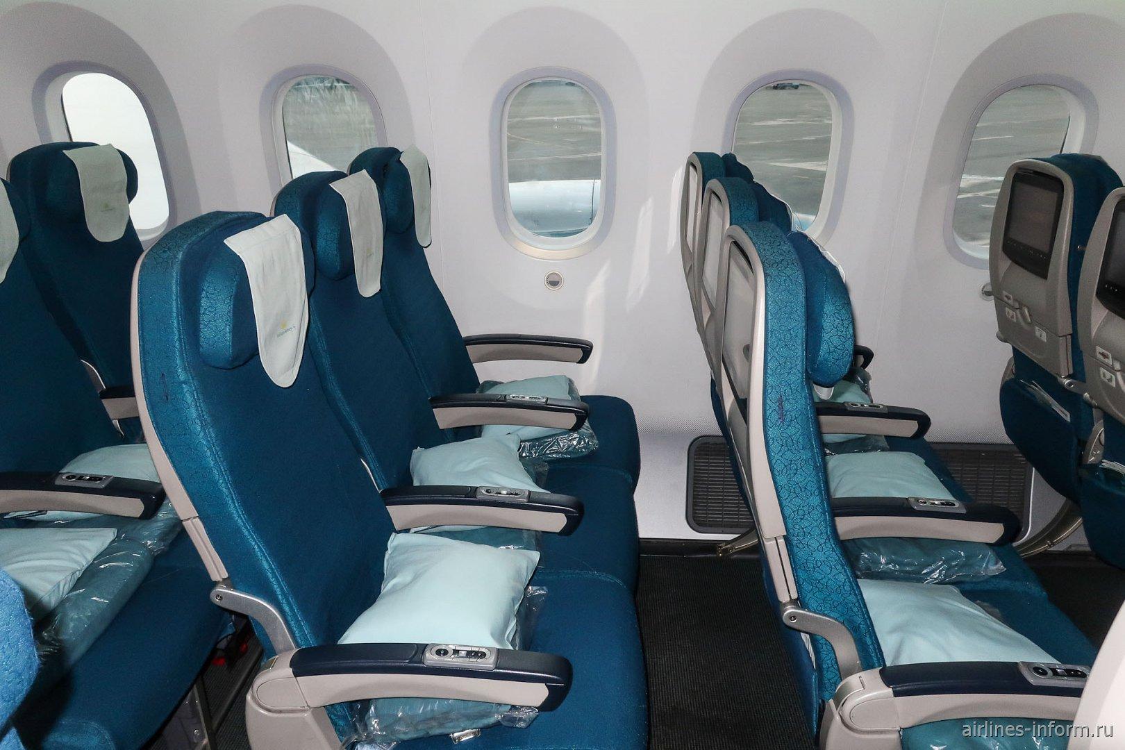 Места пассажиров эконом-класса в Боинге-787-9 Вьетнамских авиалиний