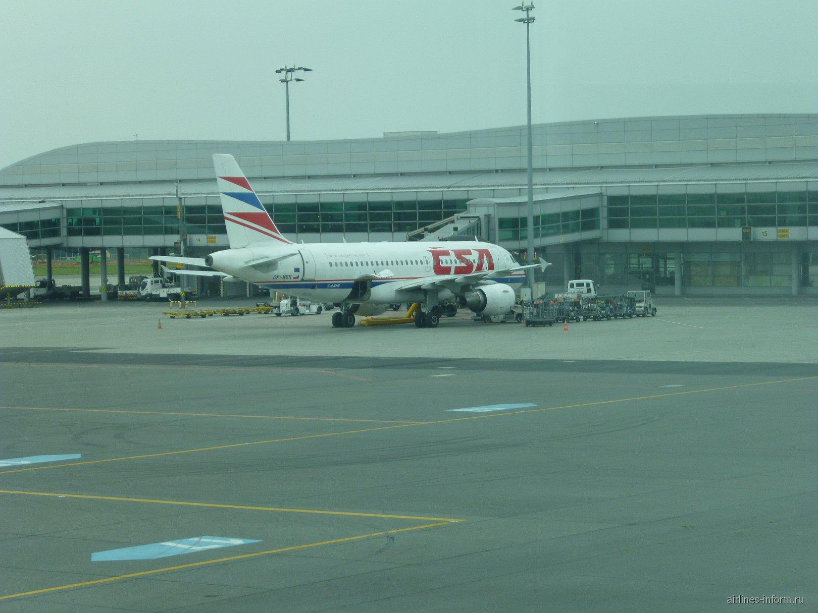 Airbus A319 Чешских авиалиний у Терминала 1 аэропорта Праги