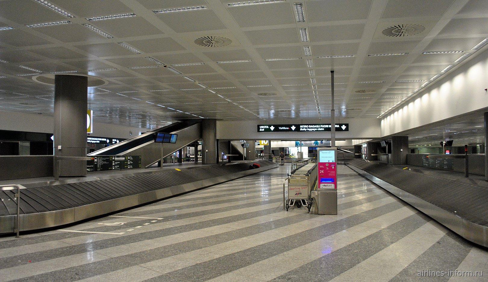 Зал выдачи багажа в терминале Т1 аэропорта Милан Мальпенса