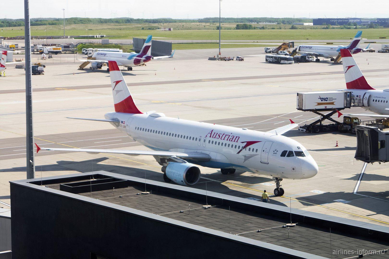 Airbus A320 OE-LBW авиакомпании Austrian в аэропорту Вены