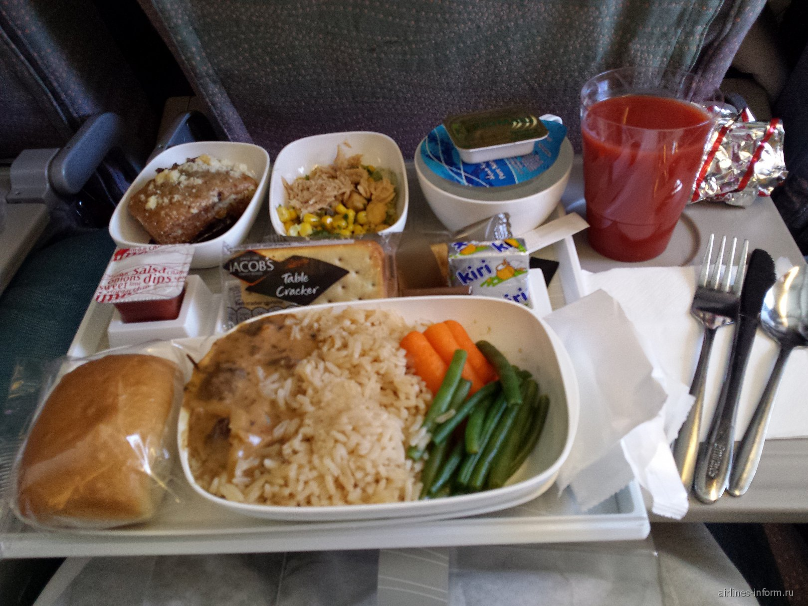 Питание на рейсе Дубай-Москва авиакомпании Emirates