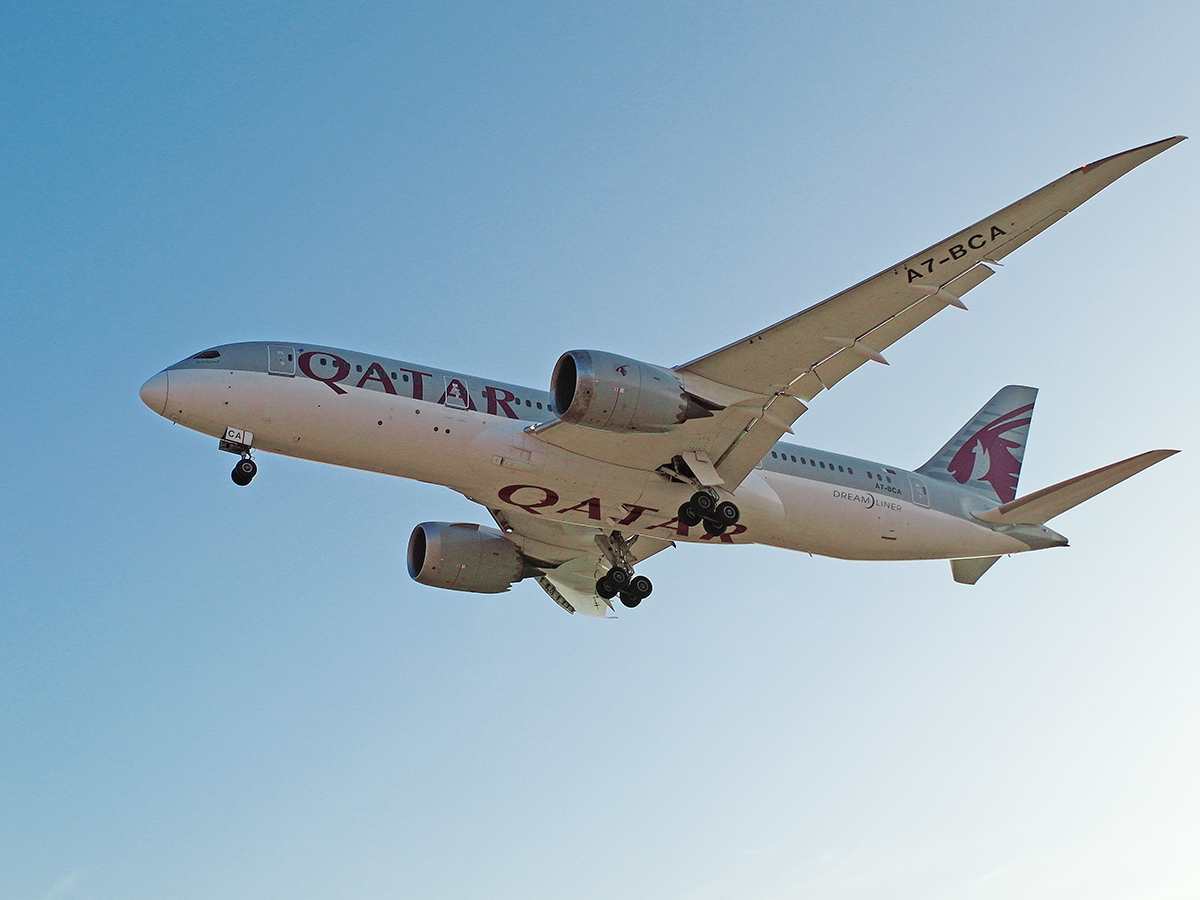 Боинг-787-8 A7-BCA Катарских авиалиний садится в аэропорту Марракеша