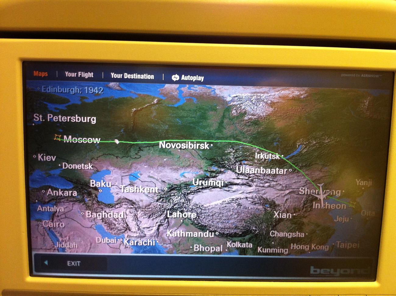 Карта полета Москва-Сеул