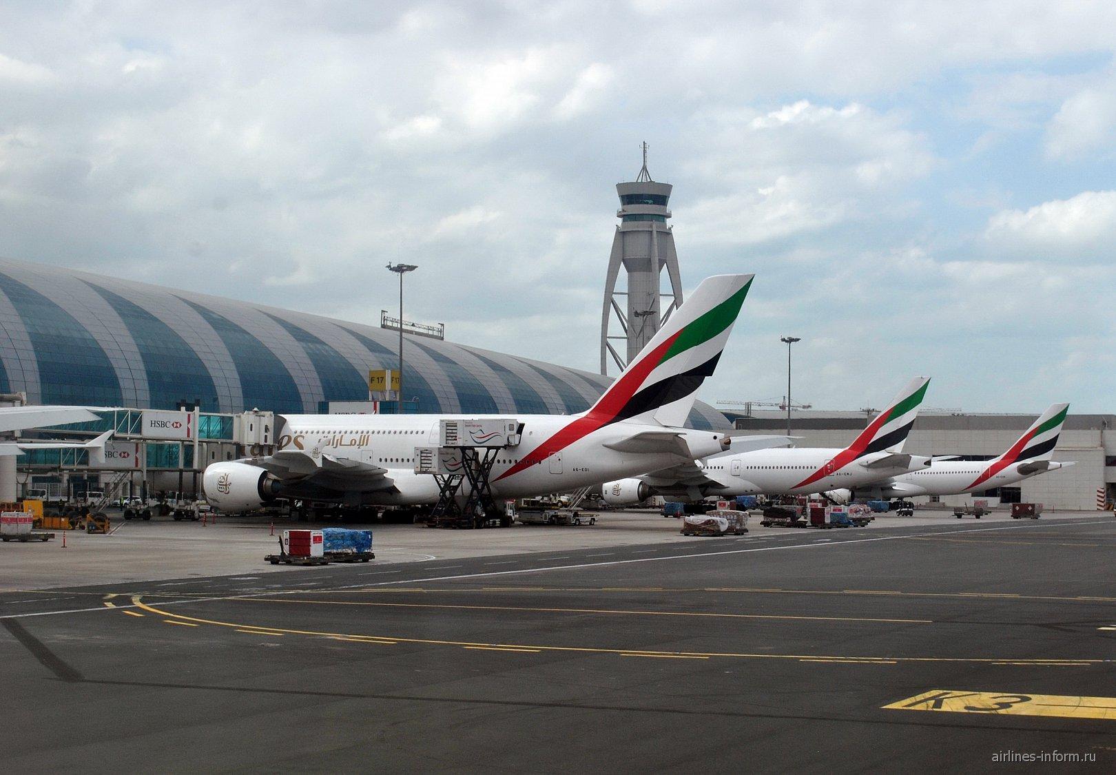Самолеты Emirates у терминала в аэропорту Дубай