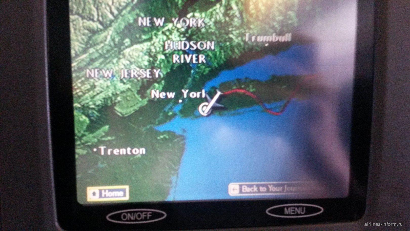 Онлайн-карта полета Лондон-Нью-Йорк Британских авиалиний