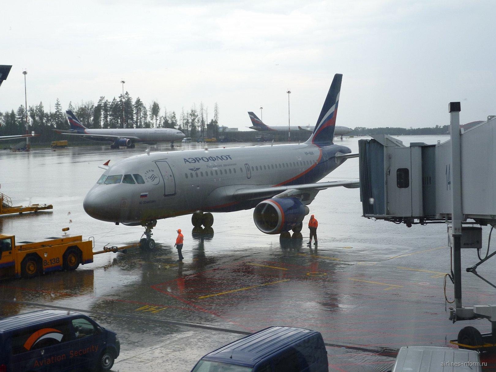 Эрбас А-319 Аэрофлота в аэропорту Шереметьево