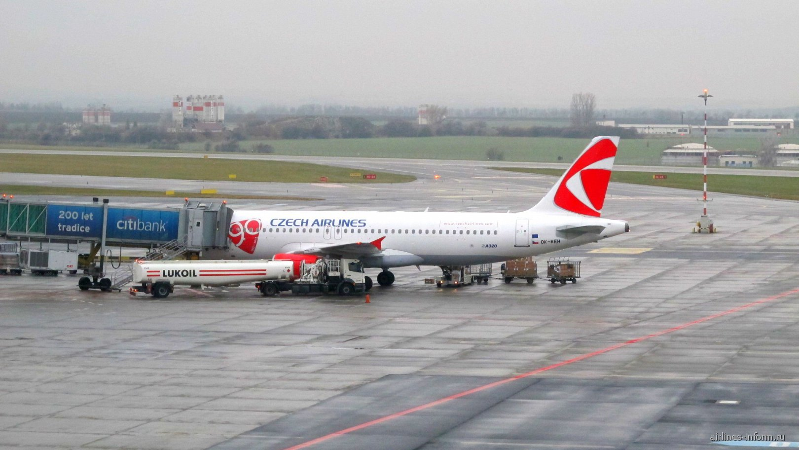 Airbus A320 Чешских авиалиний в аэропорту Прага Вацлав Гавел