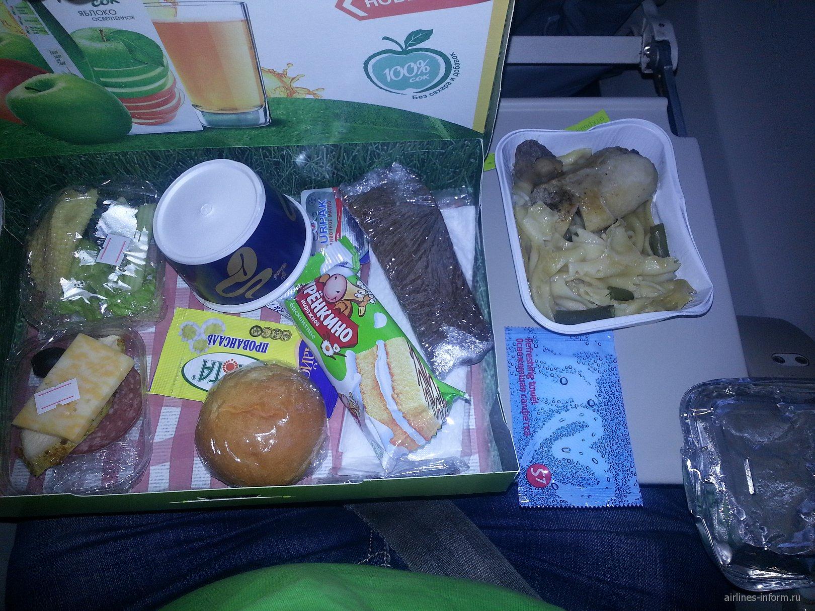 Питание на рейсе S7 Airlines Красноярск-Москва
