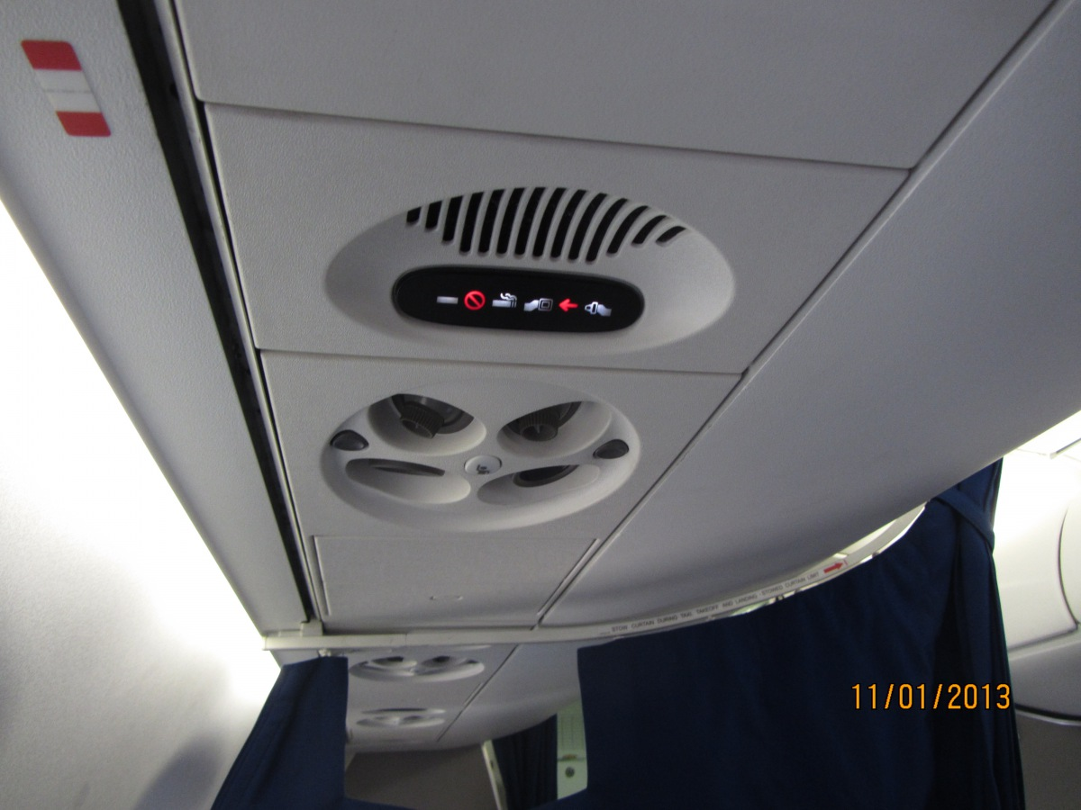 Passenger cabin of Embraer 175 LOT Polish Airlines