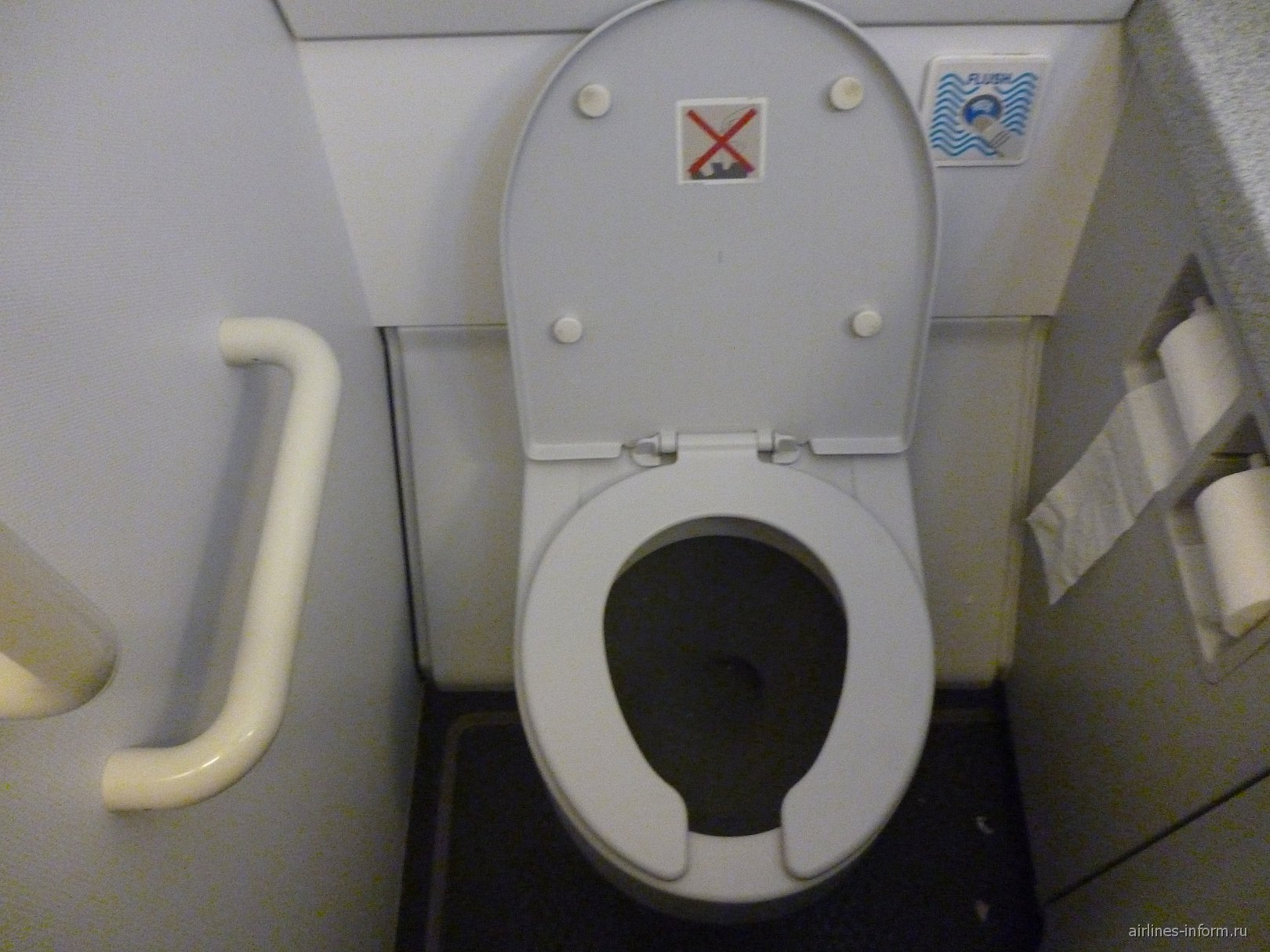 Туалет в самолете Эрбас А-320 Чешских авиалиний
