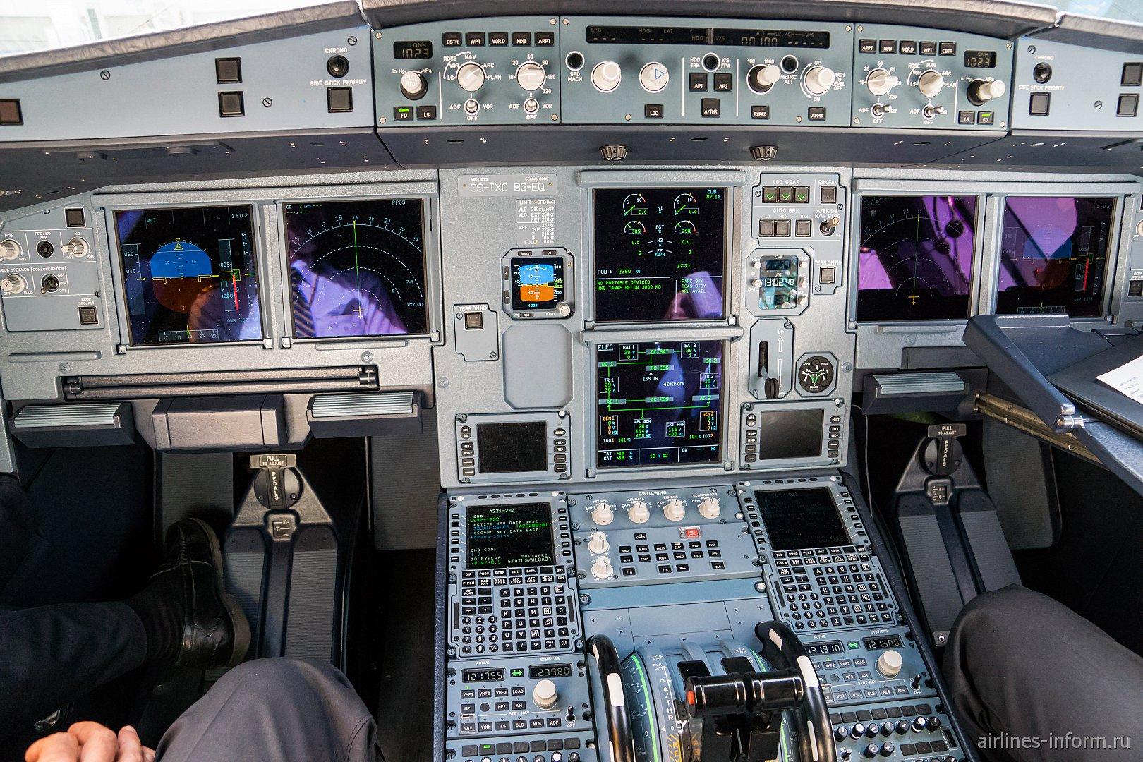 Приборная панель в авиалайнере Airbus A321neo