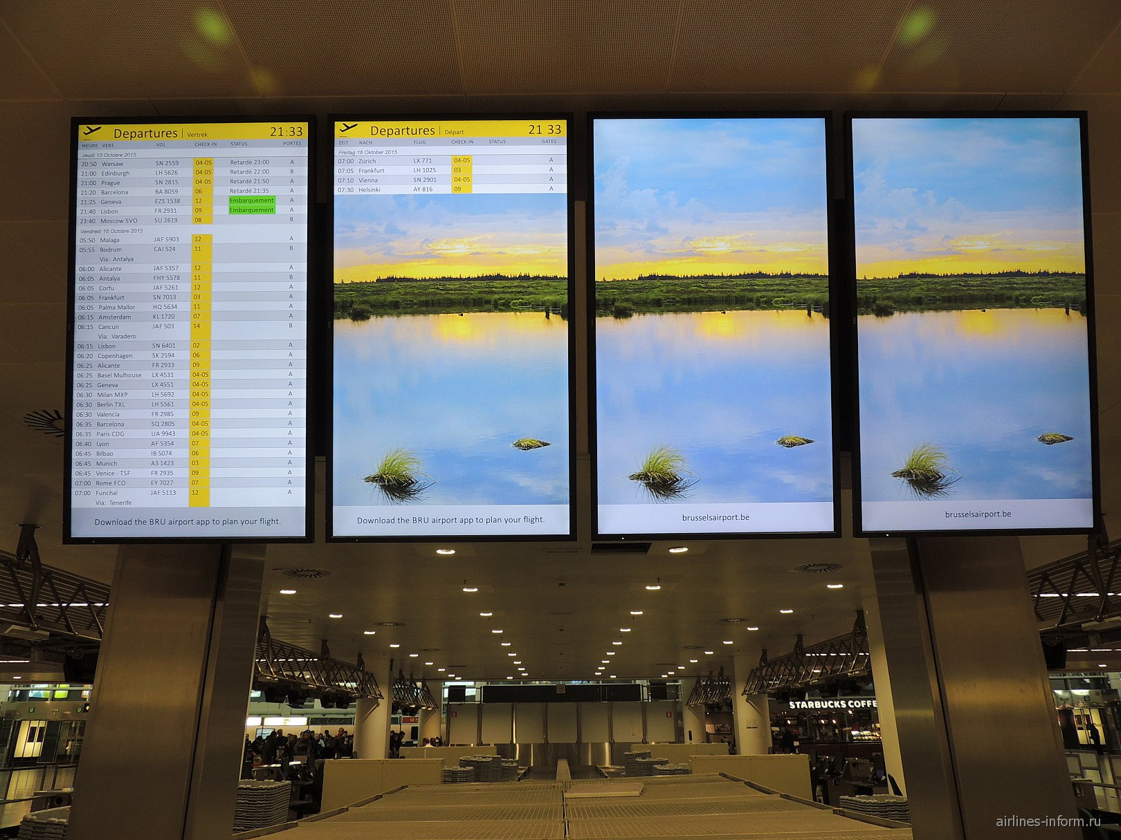 Табло вылета рейсов в аэропорту Брюсселя