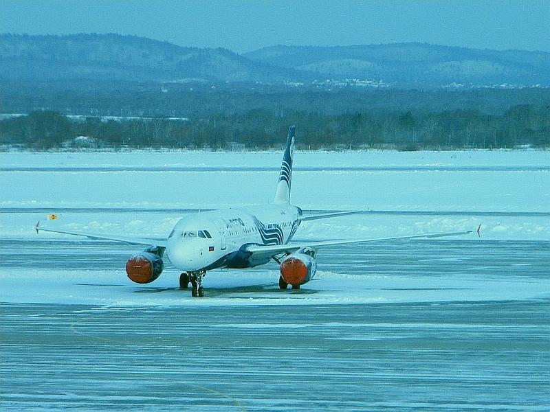 "Airbus A319 авиакомпании ""Аврора"" в аэропорту Владивостока"