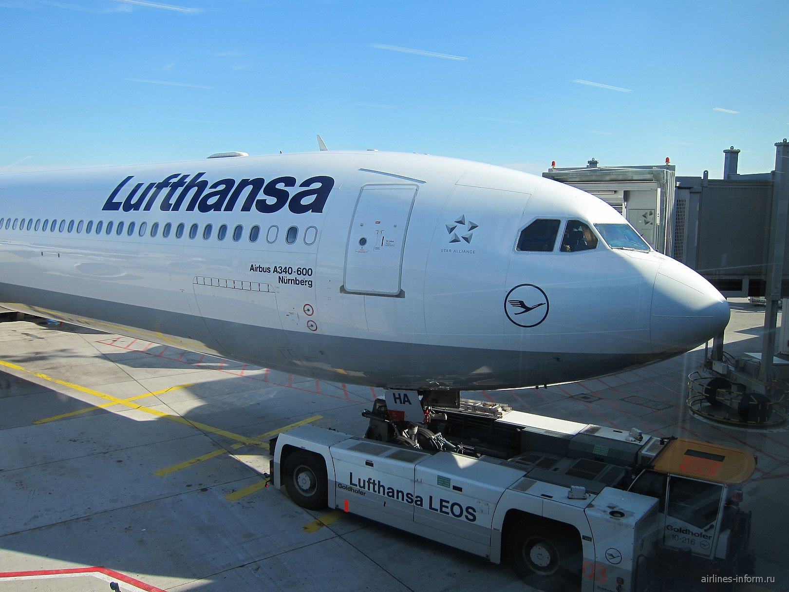 Airbus A340-600 авиакомпании Lufthansa в аэропорту Франкфурта