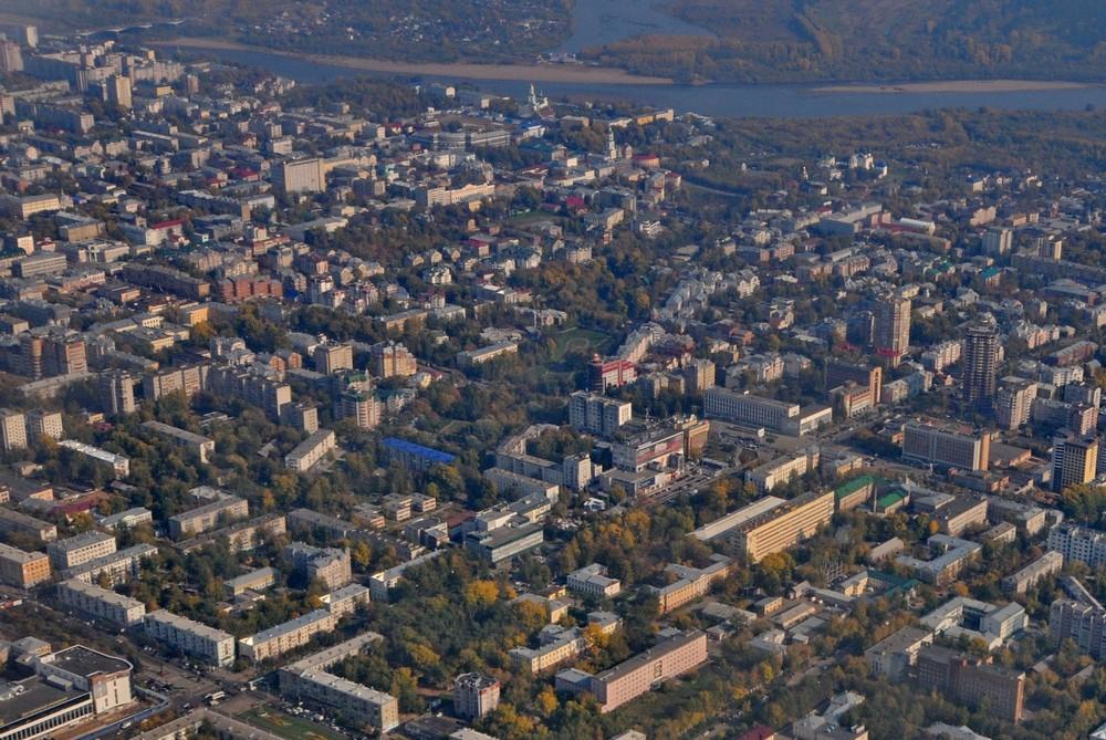 Полет над центром города Киров