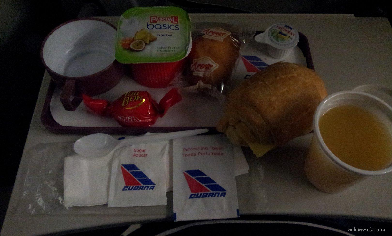 Питание на рейсе Гавана-Мехико