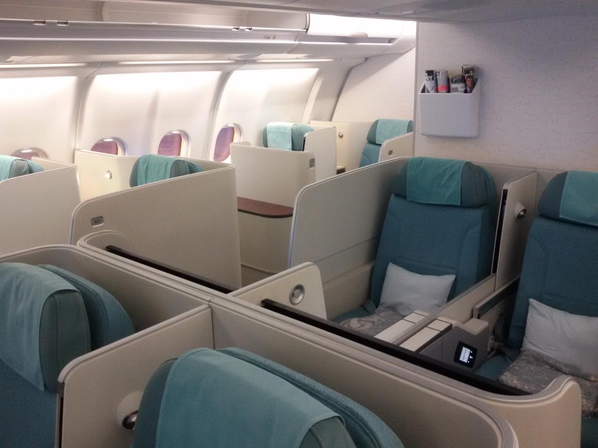 Бизнес-класс в самолете Airbus A330-200 авиакомпании Korean Air