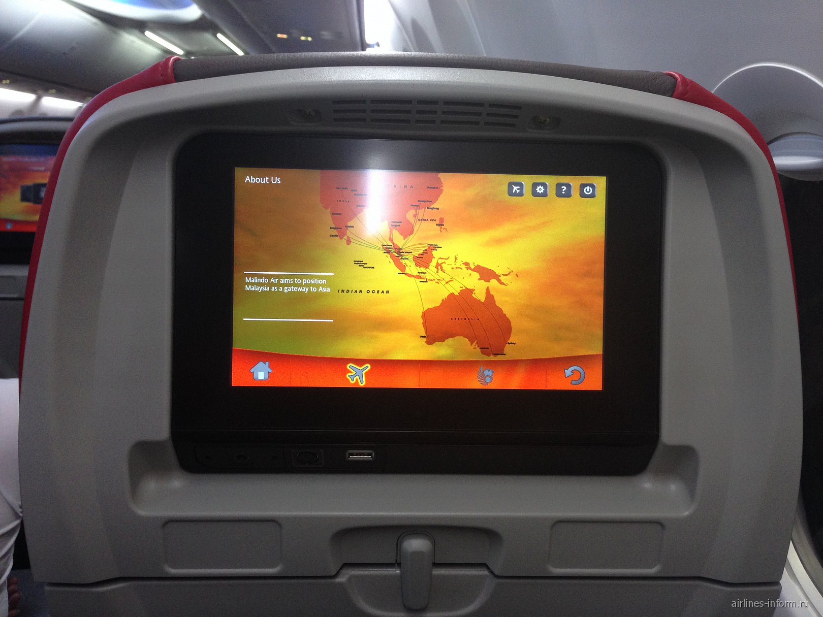 Система развлечений в Боинге-737-900 авиакомпании Malindo Air