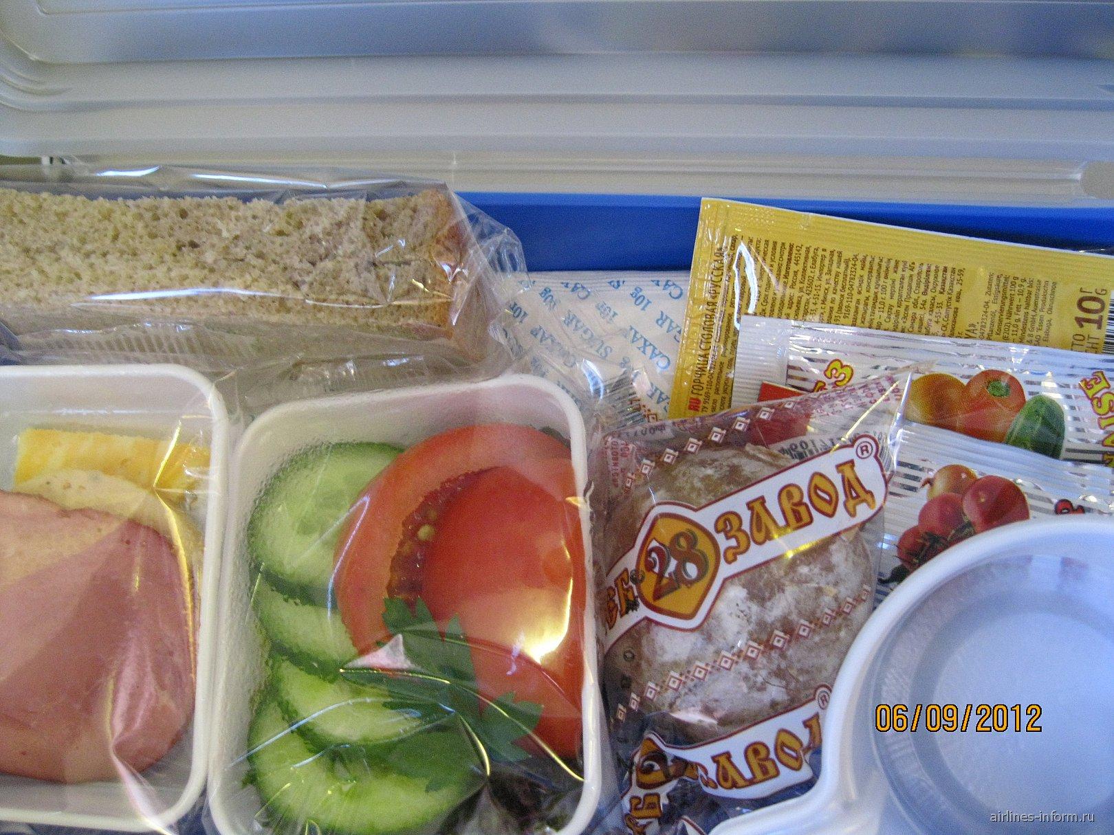 Питание на рейсе Москва-Новый Уренгой авиакомпании Ямал