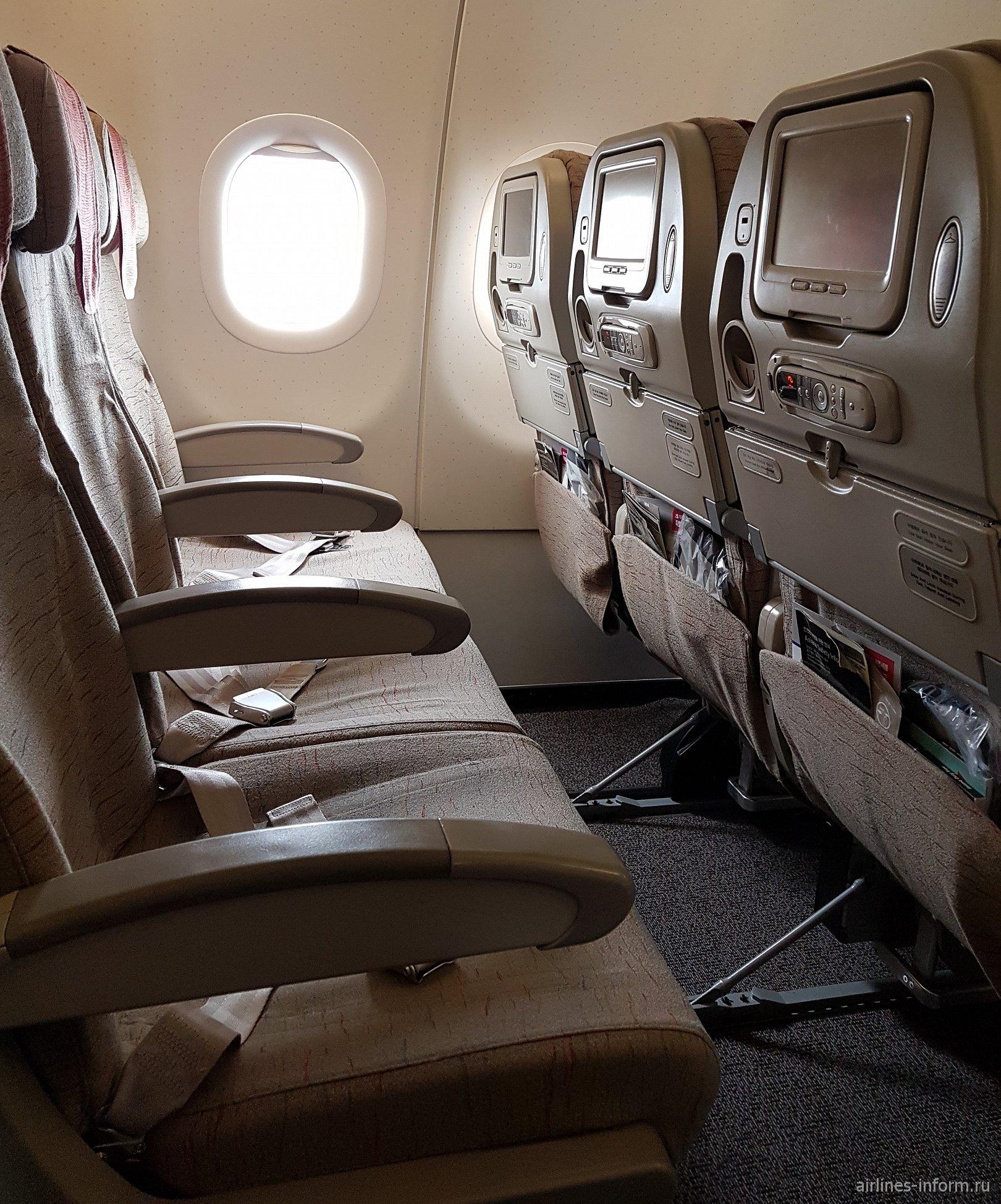 Кресла эконом-класса в Airbus A321 авиакомпании Asiana Airlines