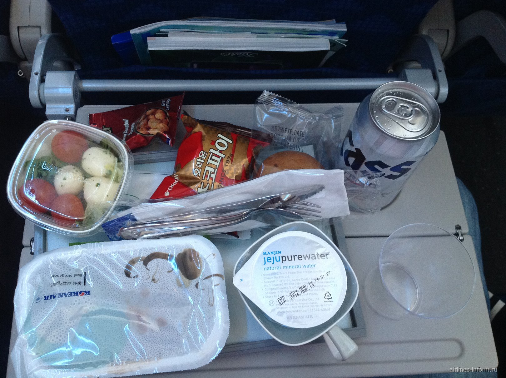 Питание на рейсе Корейских авиалиний Владивосток-Сеул