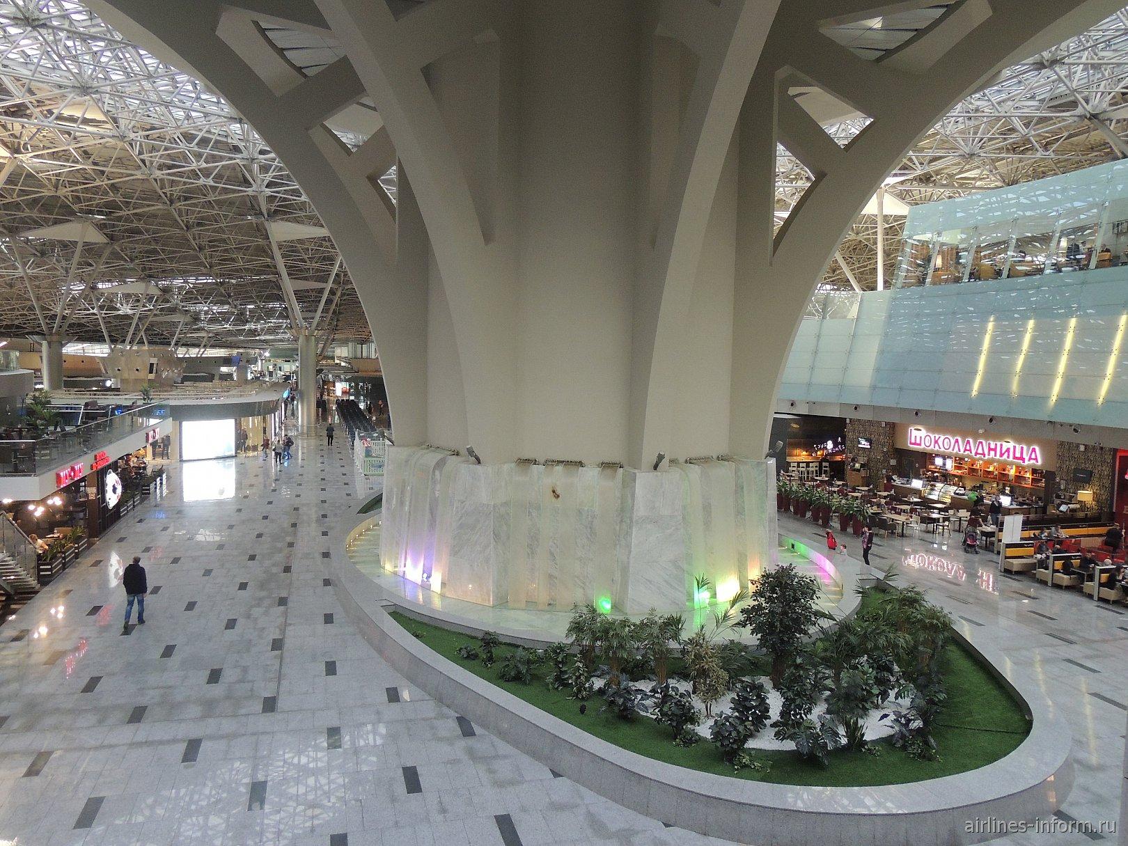 Водопад в зоне международных вылетов терминала А аэропорта Внуково