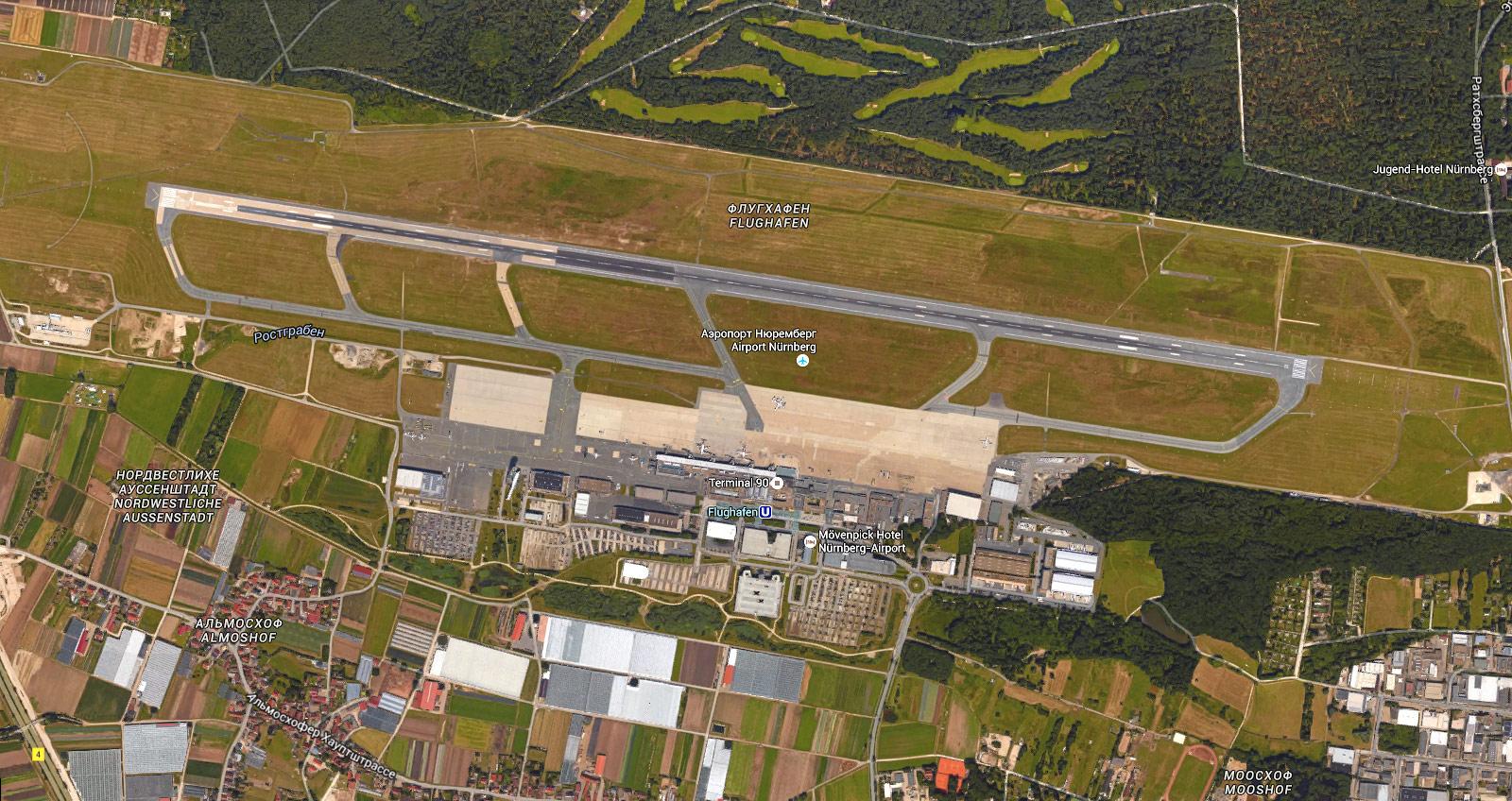 Вид со спутника на аэропорт Нюрнберг