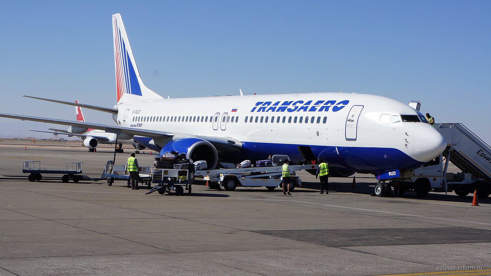 """Боинг-737-800 авиакомпании """"Трансаэро"""" в аэропорту Хургада"""