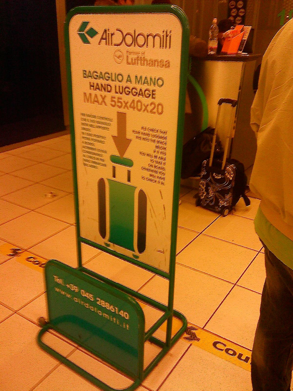 Ограничения по багажу авиакомпании Air Dolomiti