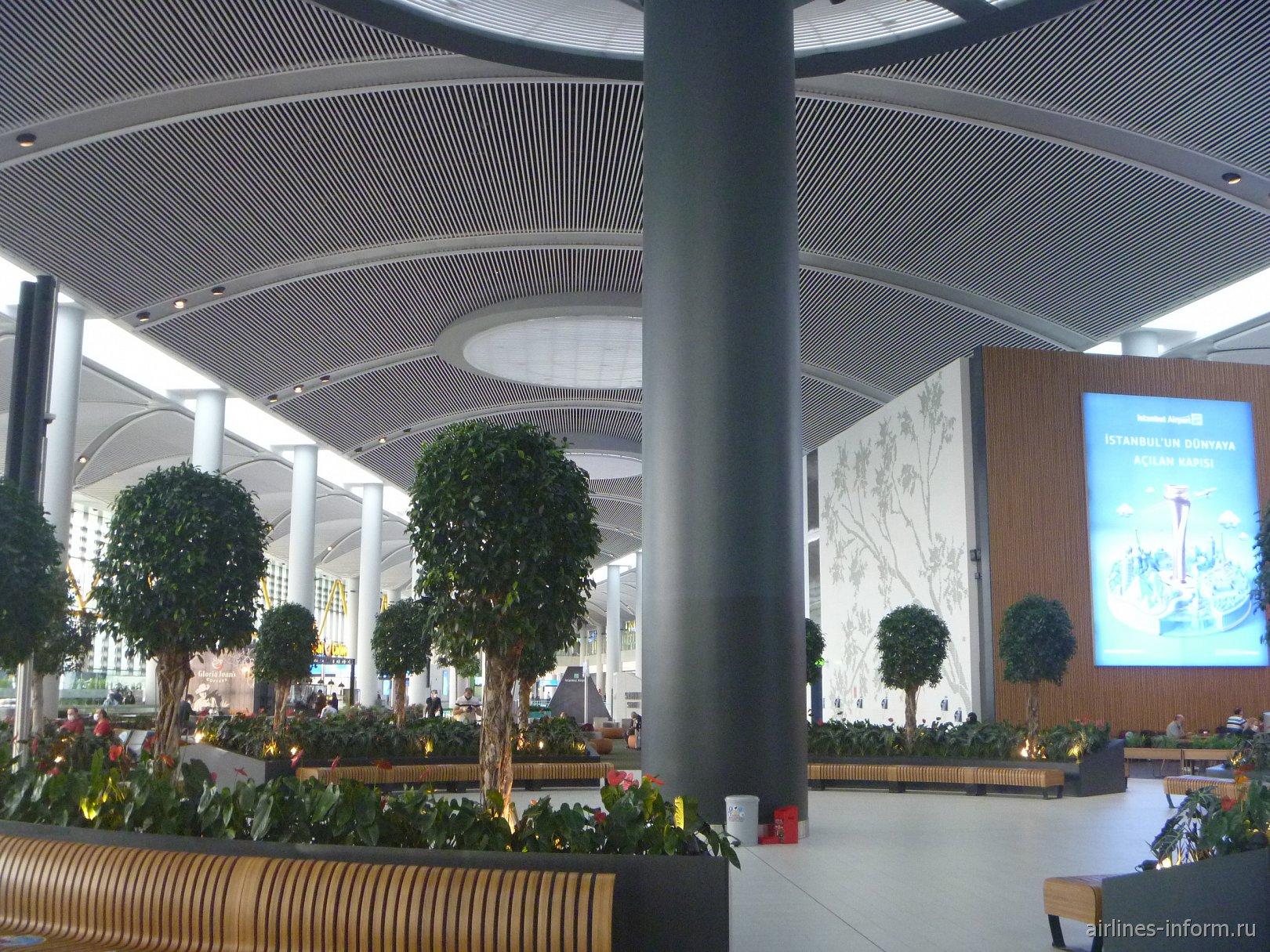 Зеленая зона в пассажирском терминале нового аэропорта Стамбула