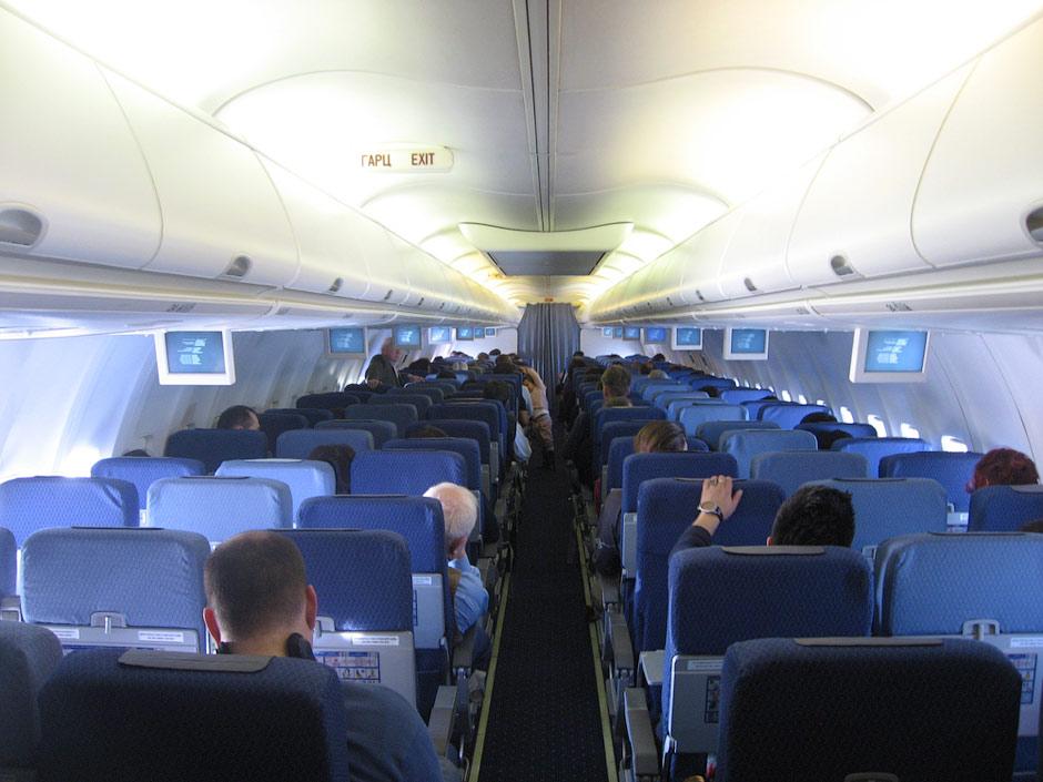 Passenger cabin of of MIAT Boeing 737-800