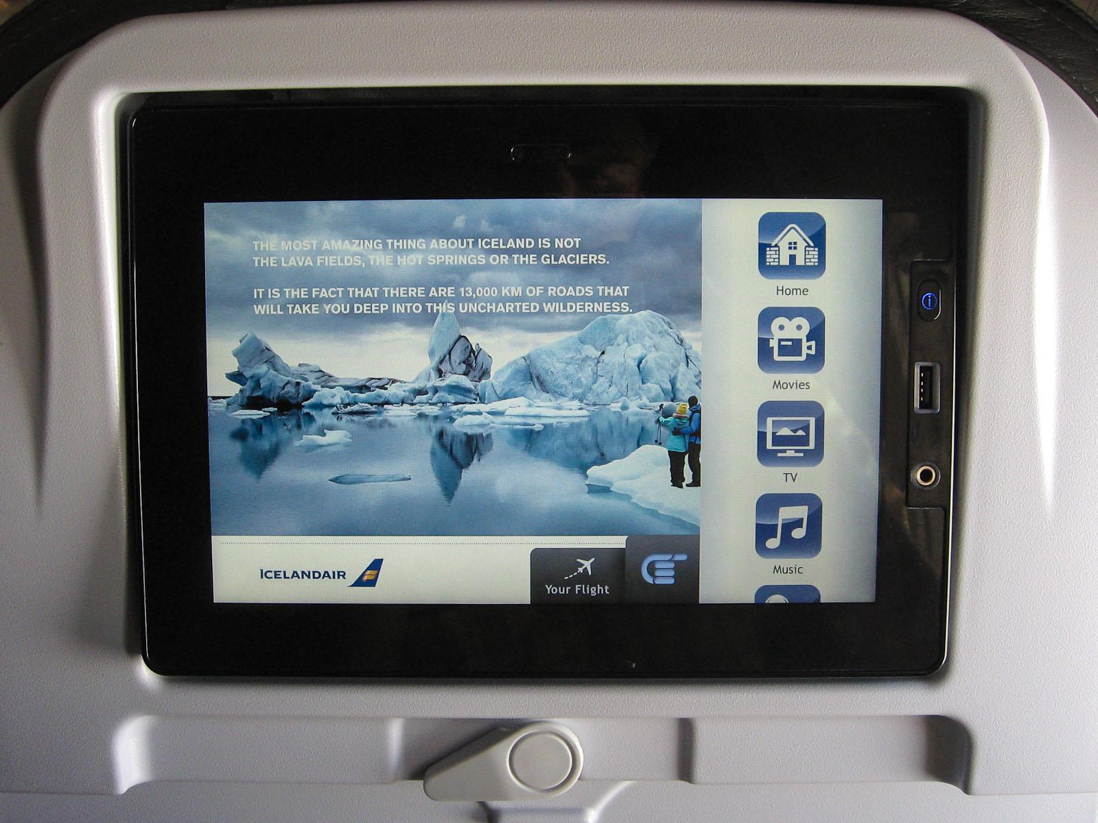 Система развлечений на борту самолета Боинг-757-200 авиакомпании Icelandair