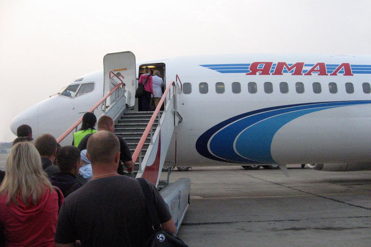 Посадка на рейс Красноярск-Москва авиакомпании Ямал