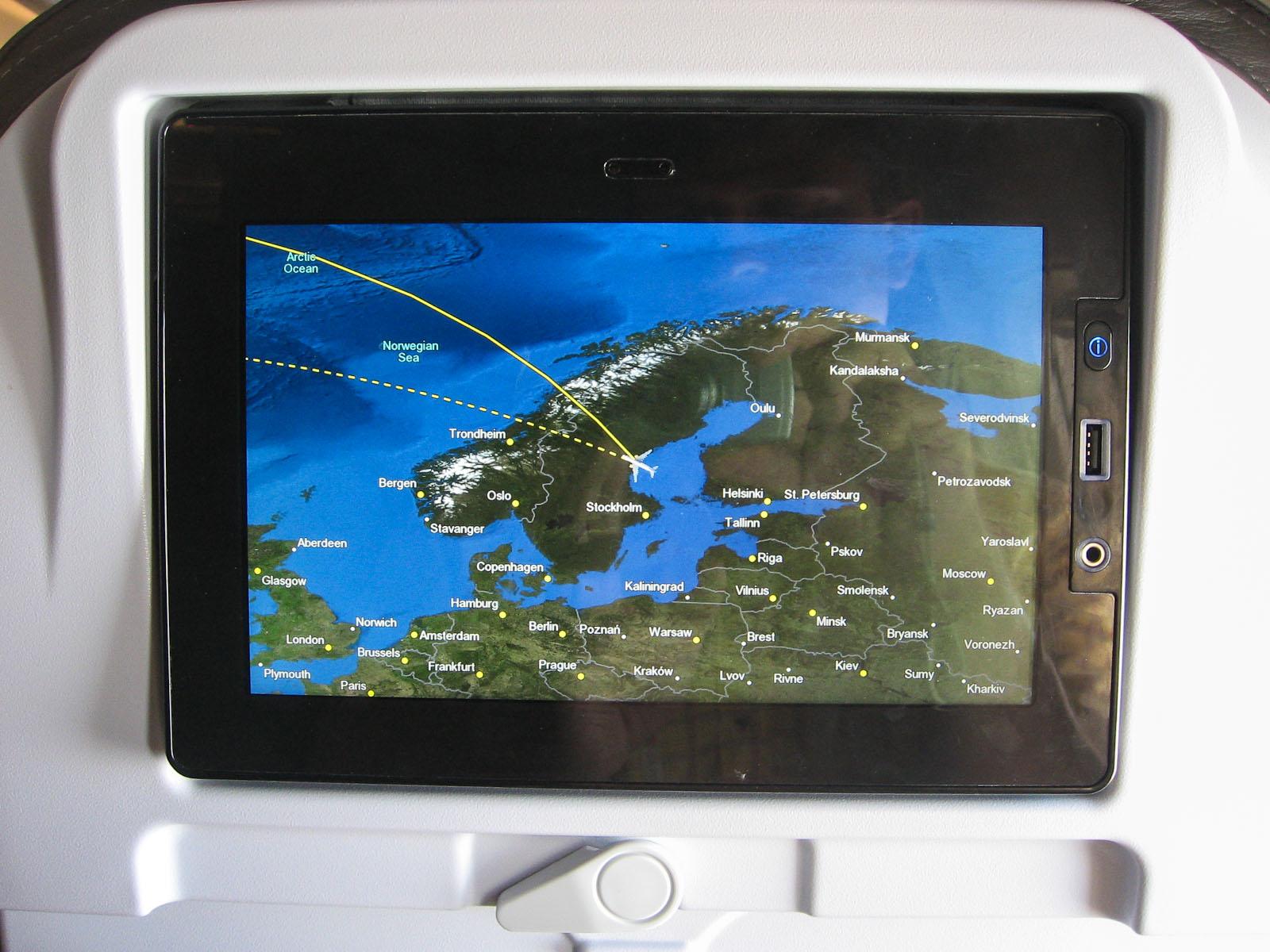 Система развлечений на борту самолета Боинг-757-200 авиакомпании Iceland Air
