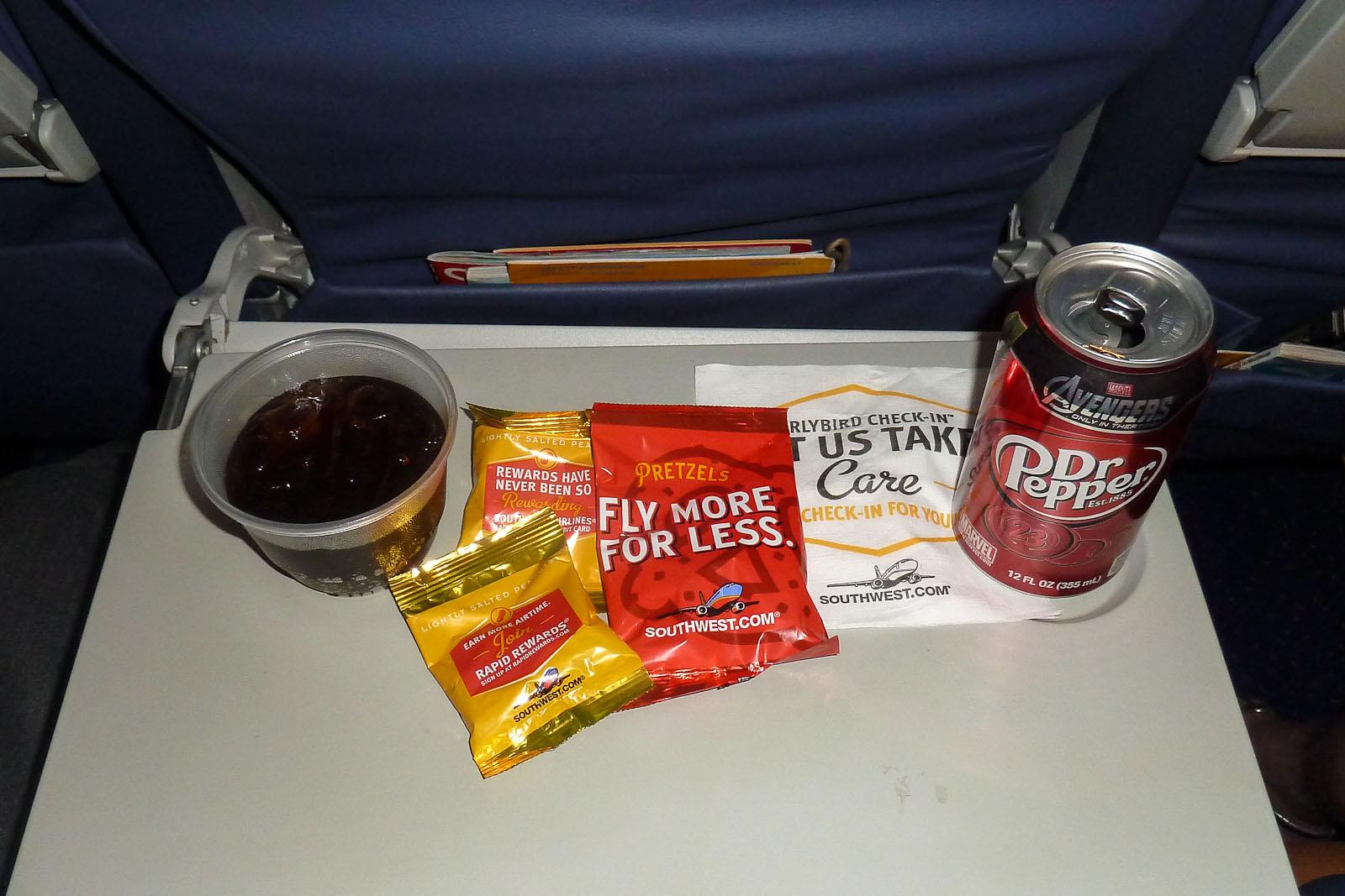 Орехи на рейсе авиакомпании Southwest Airlines
