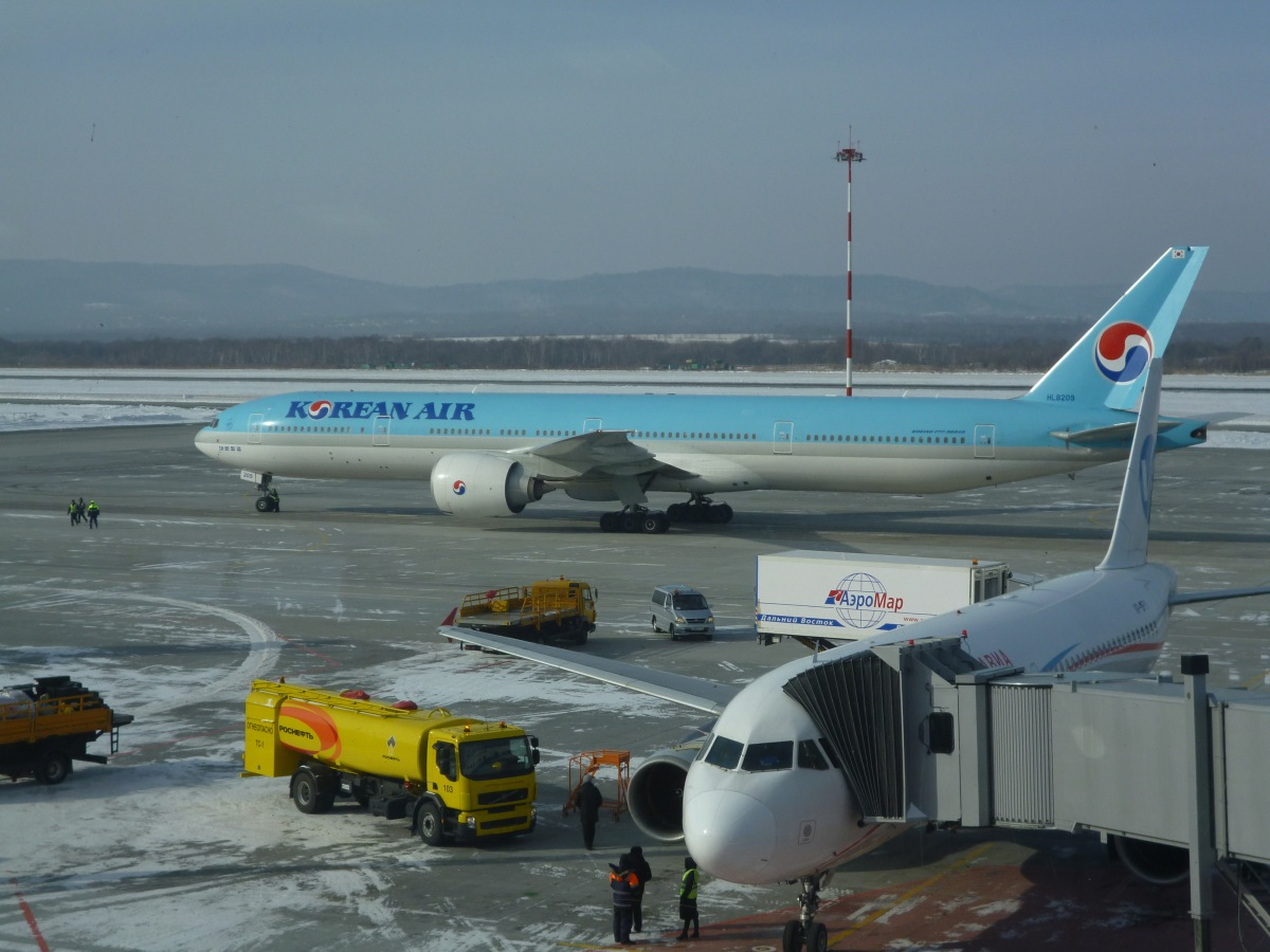 Korean Boeing 777-300 in Vladivostok Airport