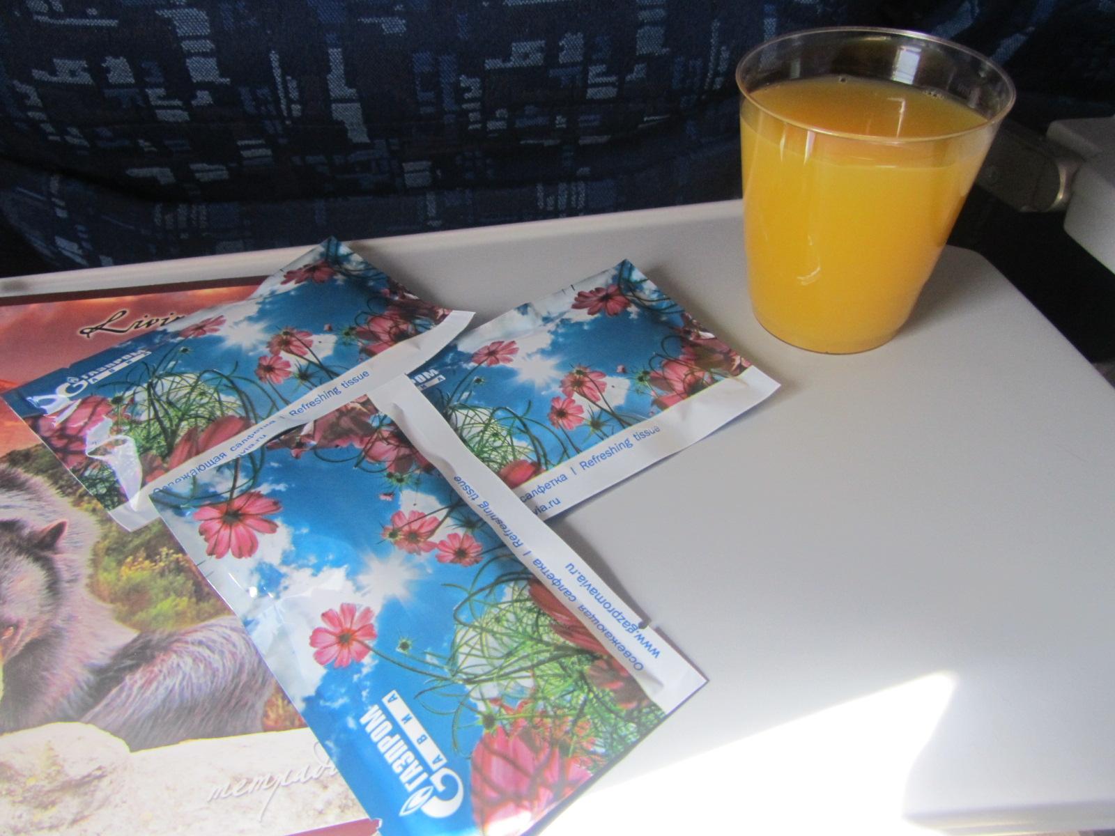 Питание на рейсе Новый Уренгой-Москва авиакомпании Газпромавиа
