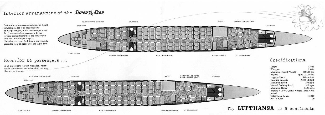 Схема салона самолета Lockheed L-1049G Super Constellation