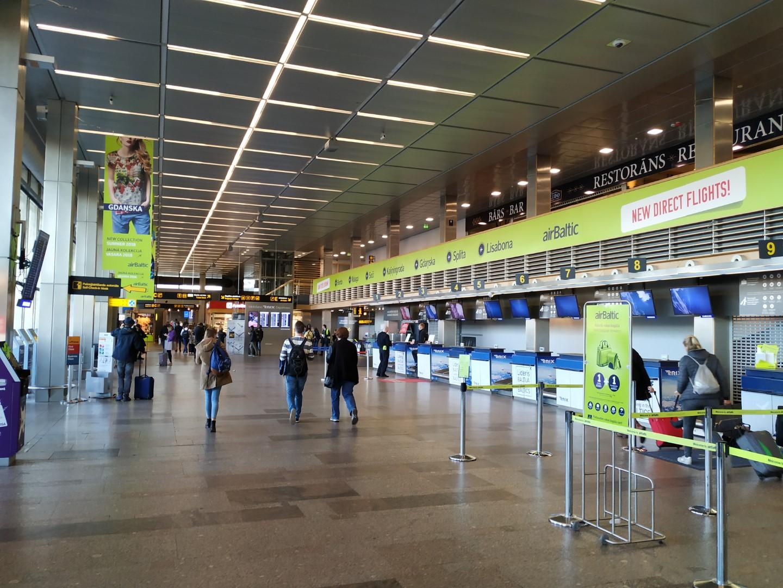 В пассажирским терминале аэропорта Рига
