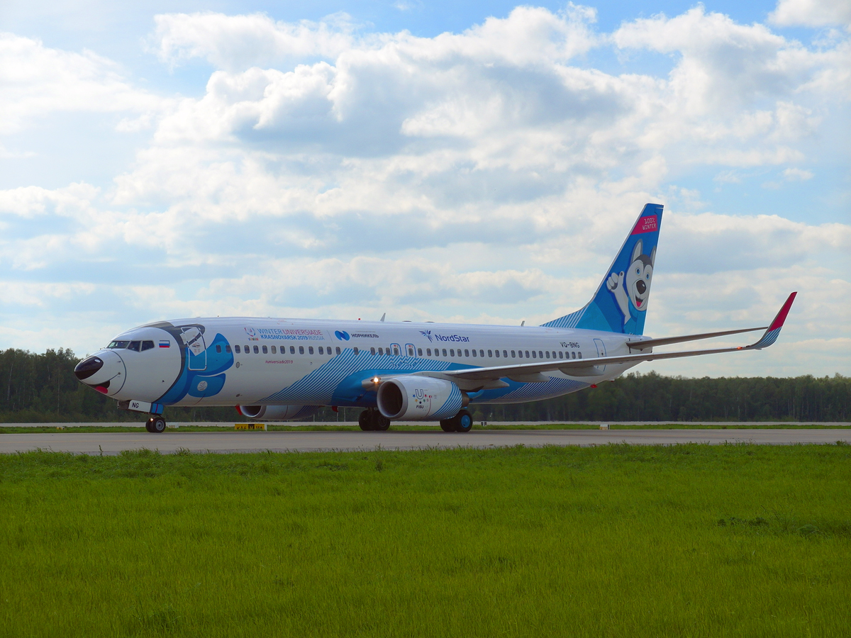 """Боинг-737-800 """"Лайколет"""" авиакомпании NordStar в аэропорту Домодедово"""