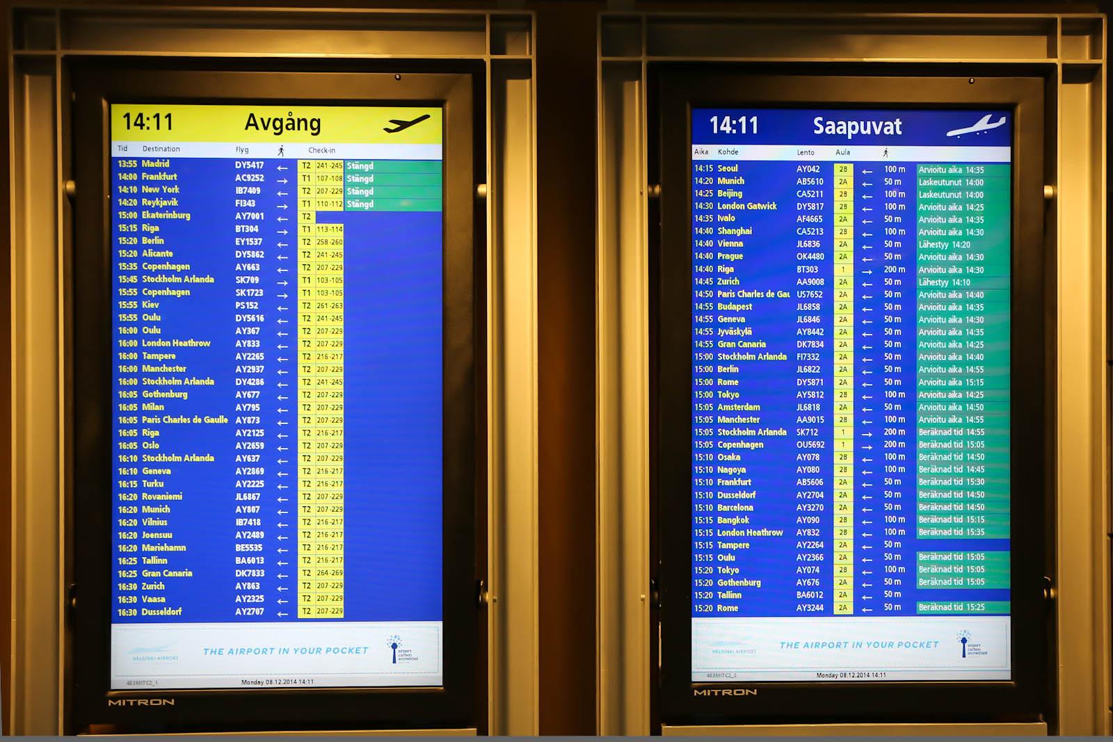 Табло вылетов и прилетов т в аэропорту Хельсинки