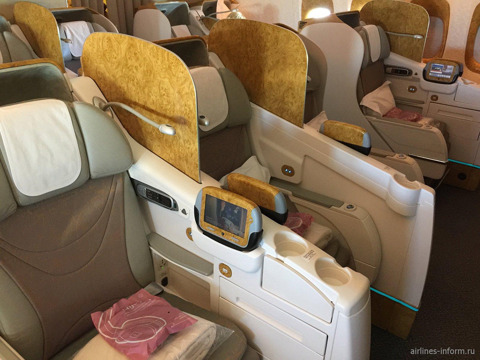 Бизнес-класс в Боинге-777-300 авиакомпании Emirates