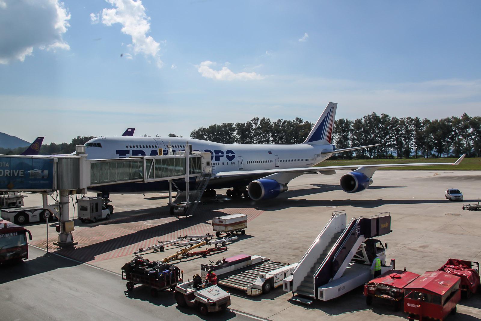 Боинг-747 Трансаэро в аэропорту Пхукета